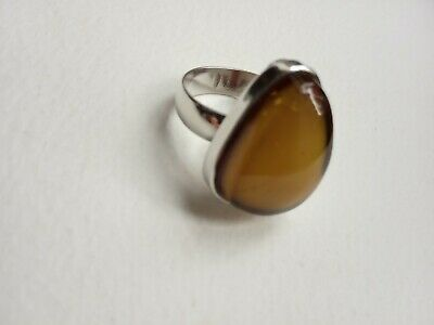 £50 • Buy Vintage Polish Egg Yolk/butterscotch Amber And Silver Ring With Inclusions