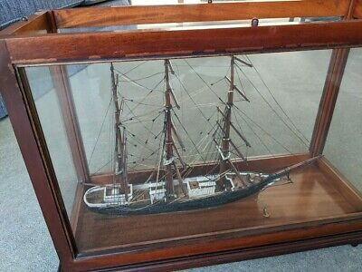 £136 • Buy 3 Masted Wooden Model Of A Sailing Ship In Display Case