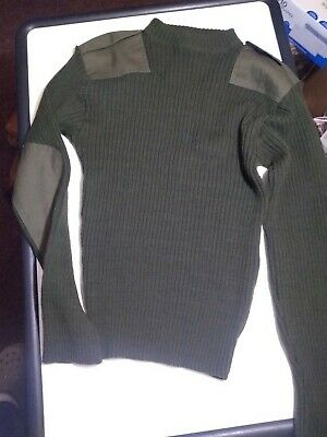 $14.99 • Buy Us Military Usmc Wool Sweater Green With Epaulettes Size 40 (21-731)