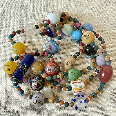 $49.99 • Buy Vintage Murano Millefiori Venetian Art Glass Faience Bead End Of Day Necklace