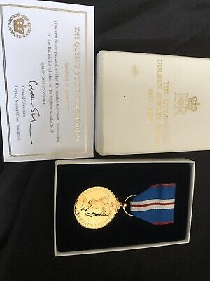 £110 • Buy Queens Full Size Golden Jubilee Medal Plus Certificate And Ribbon In Box Genuine