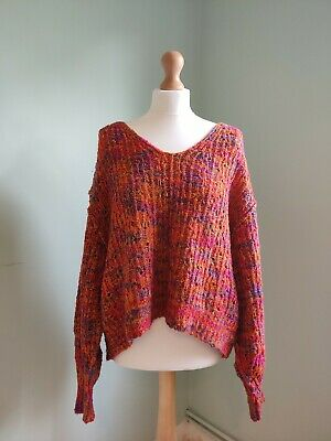 £5.70 • Buy Free People Jumper Small Free Size Colourful Bright Slouchy Open Knit