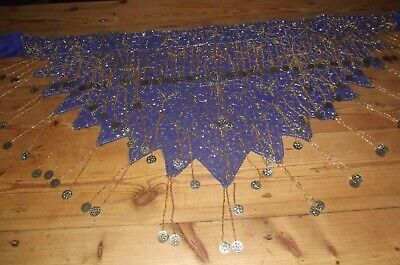 £15 • Buy Gorgeous Indigo/Gold Belly Dancing Belt With Coins And Gold/Purple Earrings