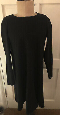 £2.99 • Buy Cos Dress Tunic Mini Black Long Sleeve Crew Neck Two Materials Size Small
