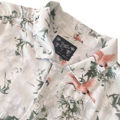 $12.99 • Buy Denim & Flower Colorful Bird Short Sleeve Casual Button Up Shirt Mens Large