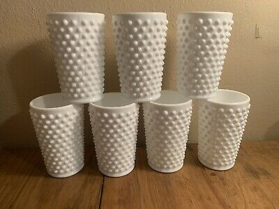 $8 • Buy Set Of 7x Milk Glass White Hobnail Juice Water Cup Glasses Tumblers Fenton