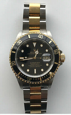 $ CDN11000 • Buy Mens Authentic ROLEX Submariner 16613 -18k Gold Stainless Watch Black Dial Date