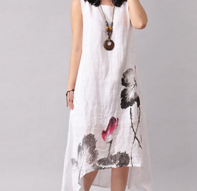 £0.01 • Buy Womens Ethnic Cotton Linen Loose Floral Print Chinese Sleeveless Dress 2XL