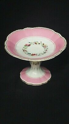 £9.99 • Buy Antique Victorian Porcelain Comport / Taza Cake Stand Tiny Chip. Pink Colour