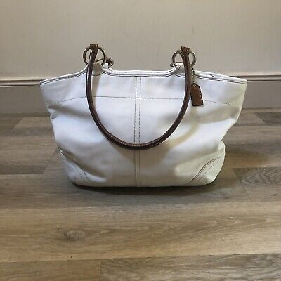 £12 • Buy Coach Leather Tote Bag In Ivory / Off White With Tan Shoulder Strap.