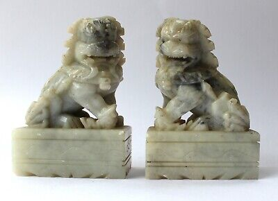£48 • Buy Vintage Pair Of Chinese Fine Carved Grey Soapstone Guardian Temple Foo Dogs
