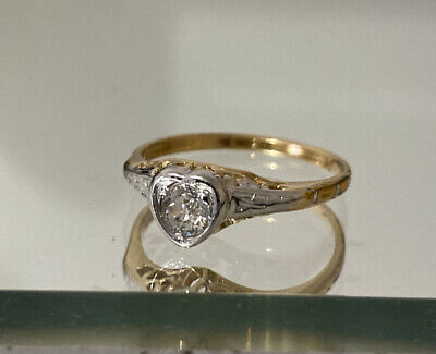 AU895 • Buy 18k Gold Platinum Old Cut Diamond Heart Shaped Solitaire Ring