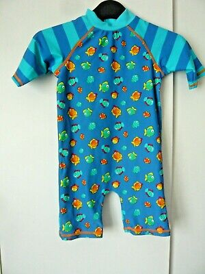 £3 • Buy Mini Club Blue Fish All In One Safe In The Sun Swimsuit Age 3/4