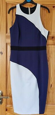 £8.99 • Buy River Island Navy And Cream Bodycon Dress With Cut Out Back Detail. Size 14