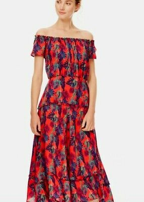£69.99 • Buy Brora Red Off-shoulder Tiered Midi Dress Bardot Style Size 18. New Without Tags