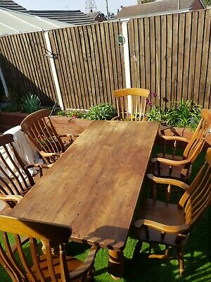 £500 • Buy Large French Kitchen/Dinning Table And 6 Very Solid Farmhouse Carver Chairs