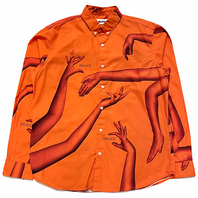 $84.99 • Buy Size L - Palace Armless Logo All Over Print Long Sleeve Button Shirt Orange FW19