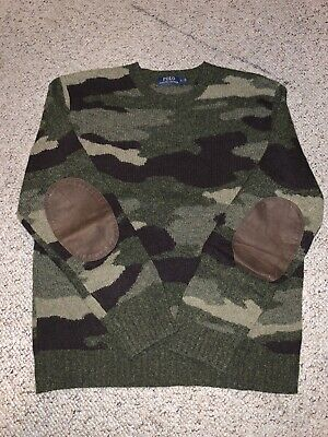 $55 • Buy Polo Ralph Lauren Mens' Green Camouflage Wool Sweater Size Large EUC