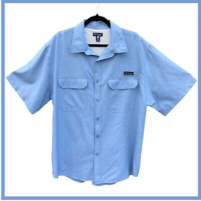 $10.50 • Buy Men's Chambray Blue XL RealTree Quick Dry Button Front Vented Fishing Shirt