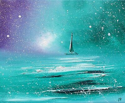 £4.95 • Buy  Sailing Together , An Original Boat/sea Oil Painting On Canvas, By Phil Broad