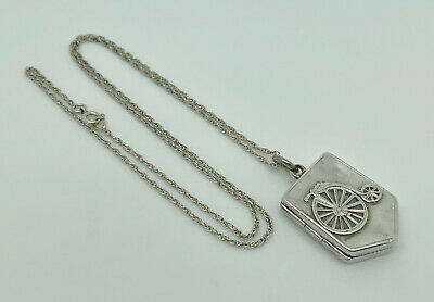 £124.99 • Buy Rare Antique Victorian 1887 Sterling Silver Penny Farthing Shield Locket Pendant