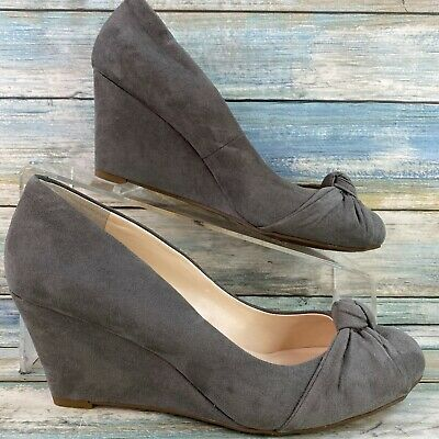 £18.49 • Buy Jessica Simpson Gray Wedge Heel Pumps Dress Shoes Round Toe Knot Accent Womens 7