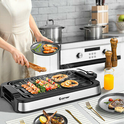 £49.99 • Buy 2 IN 1 Smokeless Grill Electric BBQ Griddle Non-stick Reversible Plate 2000W