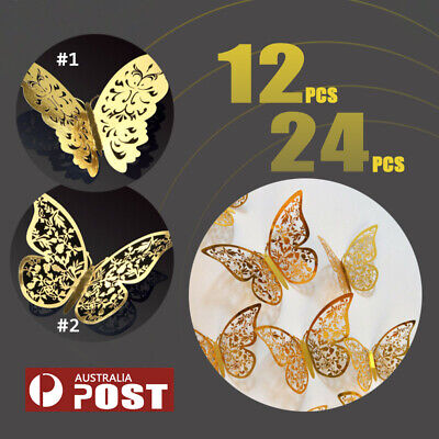AU6.50 • Buy Up To 24pc 3D DIY Wall Decal Stickers Butterfly Home Room Art Decor Decorations