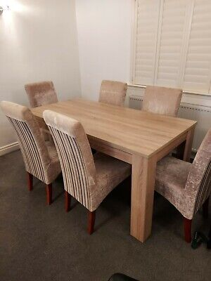 £200 • Buy Dinning Room Table And 6 Chairs Velvet Chairs Stripes