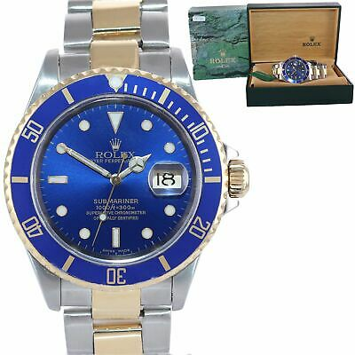 $ CDN13156.08 • Buy 2001 Rolex Submariner 16613 Two Tone Gold BUCKLE Blue Dial 40mm Watch Box