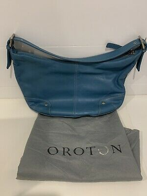 AU30 • Buy Oroton Mid Blue Baguette Bag, Leather, Fully Lined
