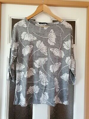 £3.95 • Buy Ladies M&S Collection Grey Floral Print Top Size 12