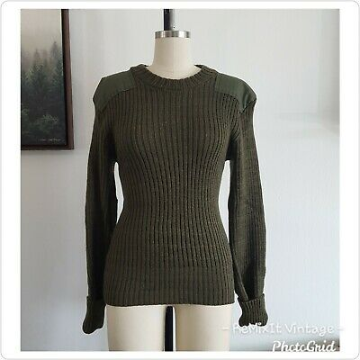 $22.99 • Buy Vintage Knitted Wool Army Olive Green Sweater Military Marine Corp Men / Women