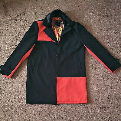$45 • Buy Reason Clothing Peacoat Black And Red Pea Coat Size Large Fur Collar