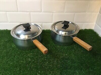 £19.99 • Buy Vintage Prestige Saucepans And Lids - Stainless Steel With Wooden Handles