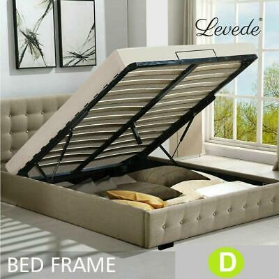 AU270 • Buy Levede Fabric Gas Lift Bed Frame With Storage Capacity In Double Size In Beige C