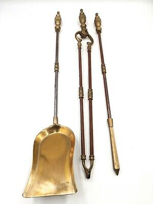 £23.50 • Buy Vintage Brass And Metal Fire Side Companion Set Tools