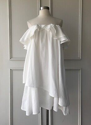 AU55 • Buy | COUNTRY ROAD | Ruffle Off Shoulder Dress White | $139 | SIZE: 4,6,10,12,14,16