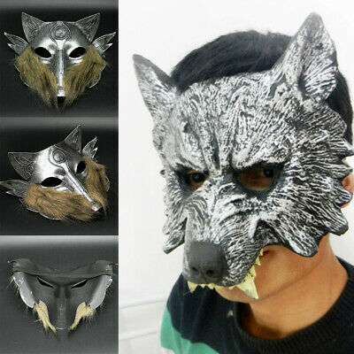 £6.99 • Buy Adult Scary Wolf Face Mask Head Cosplay Party Halloween Fancy Dress Accessory