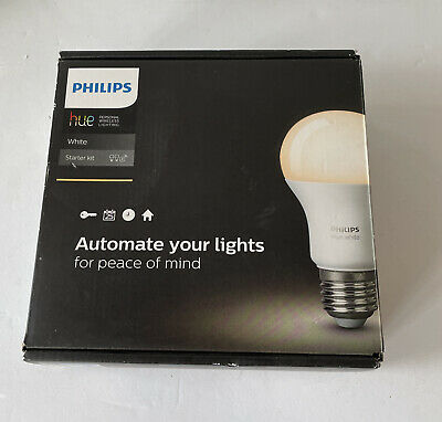 AU64.36 • Buy New Philips Hue WHITE Automate Your Lights 2 Bulb Starter Kit With Bridge