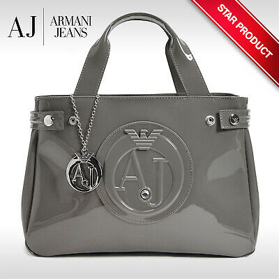 £129.99 • Buy ARMANI JEANS Womens Medium Taupe Patent Tote Shopping Bag 922526 CC855 07753 NEW