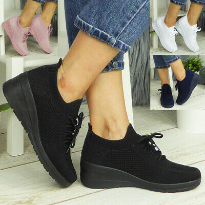 £13.99 • Buy Ladies Trainers Wedge Shoes Womens Sock Fit Sneakers Pumps Comfy Casual Lace Up