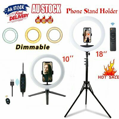 AU10.99 • Buy 18 Inch LED Ring Light Dimmable With Tripod Stand Selfie Stick And Phone Holder