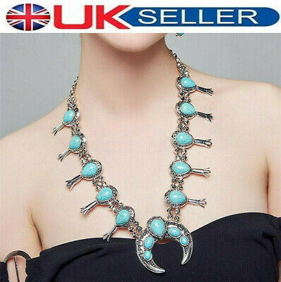 £17.25 • Buy Elegant Vintage Style Blossom Turquoise Silver Native American Inspired Necklace