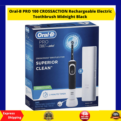 AU100 • Buy Oral-B PRO 100 CROSSACTION Rechargeable Electric Toothbrush Midnight Black AU!