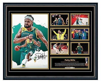 AU99.99 • Buy Patty Mills 2020 Olympics Boomers Signed Limited Edition Framed Memorabilia