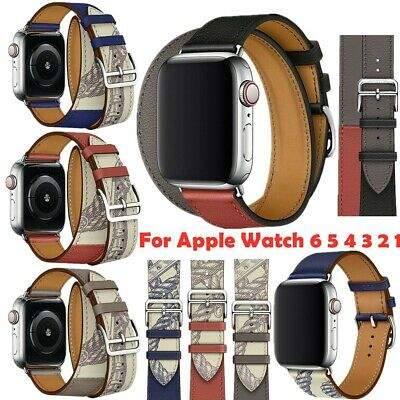 AU21.42 • Buy Genuine Leather Band Bracelet Single Double Tour Strap For Apple Watch 6 5 4 321
