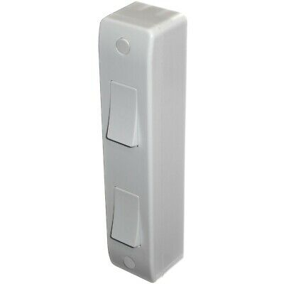 £5.50 • Buy 2 Gang Architrave Light Switch With Surface Box Double 1 Or 2 Way White Curved