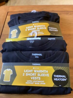 £18.95 • Buy M&S Mens 4 Short Sleeve Thermal T's/Vests Size Small Black