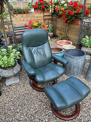 £290 • Buy Ekornes Stressless Green Leather Recliner And Stool